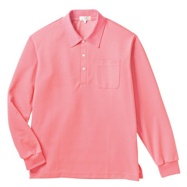 トンボ キラク 長袖ポロシャツ  ピーチ 3L CR165-11 1枚  (取寄品)