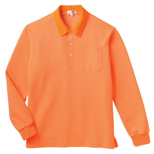 トンボ キラク 長袖ポロシャツ  オレンジ L CR165-59 1枚  (取寄品)