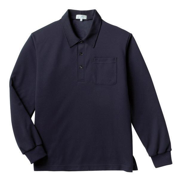 トンボ キラク 長袖ポロシャツ  ネイビー L CR165-89 1枚  (取寄品)