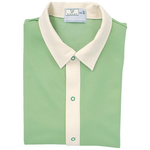 トンボ キラク 前開きニットシャツ グリーン M CR809-42 1枚  (取寄品)