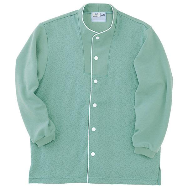トンボ キラク 前開きニットシャツ グリーン L CR813-46 1枚  (取寄品)