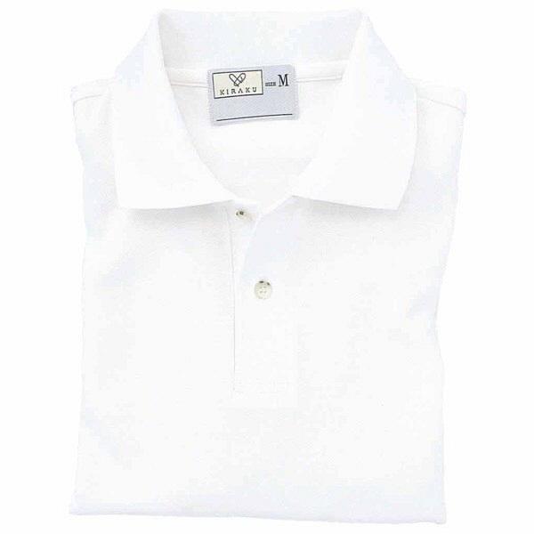 トンボ キラク ポロシャツ  白  L CR053-01 1枚  (取寄品)
