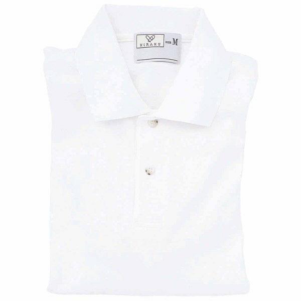 トンボ キラク 長袖ポロシャツ  白  L CR054-01 1枚  (取寄品)