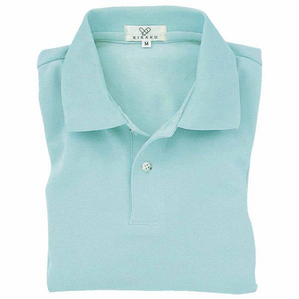 トンボ キラク 長袖ポロシャツ  サックス  M CR054-70 1枚  (取寄品)
