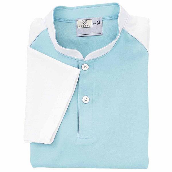 トンボ キラク ケアワークシャツ サックス BL  BL CR060-70 1枚  (取寄品)