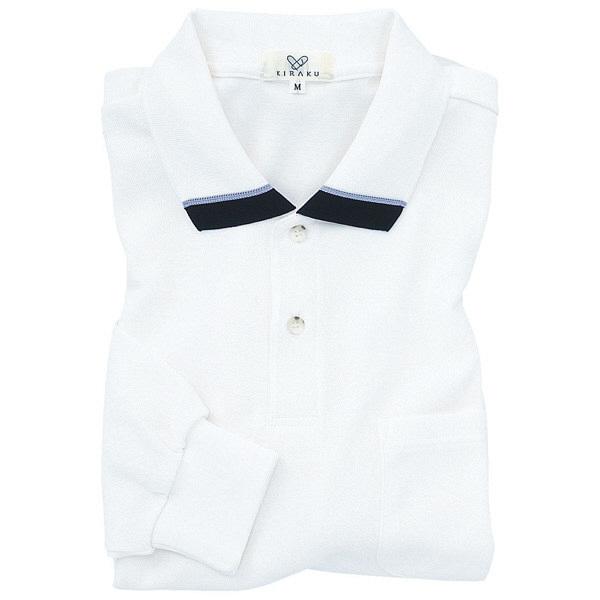 トンボ キラク 長袖ポロシャツ  白  SS CR062-01 1枚  (取寄品)