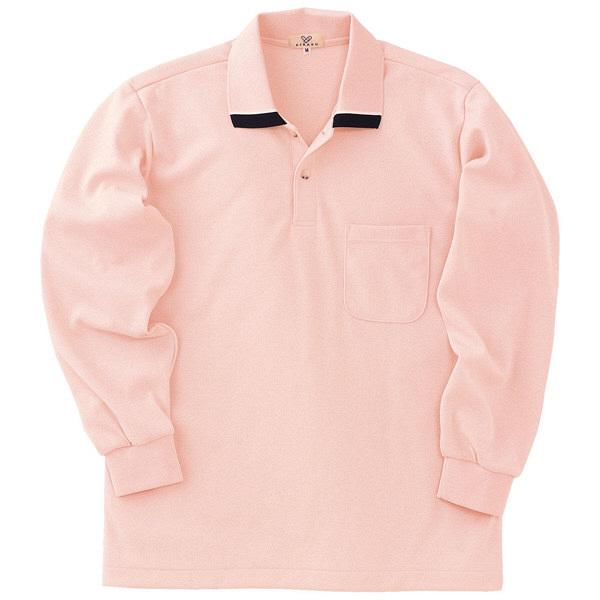 トンボ キラク 長袖ポロシャツ  オレンジピンク  M  M CR062-12 1枚  (取寄品)