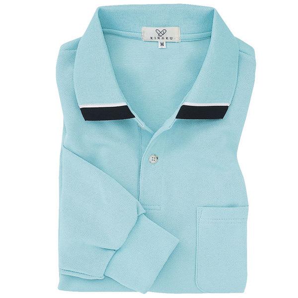 トンボ キラク 長袖ポロシャツ  サックス  L  L CR062-70 1枚  (取寄品)