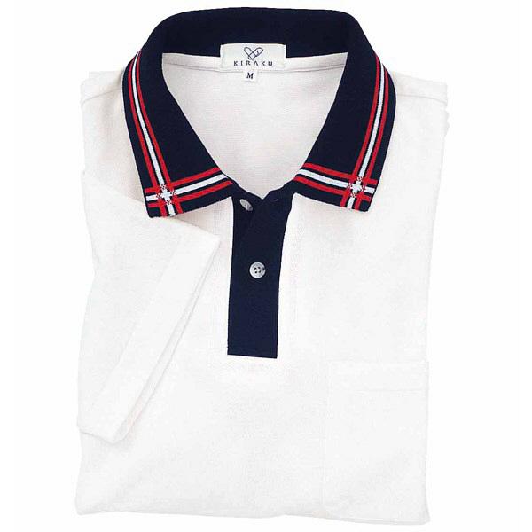 トンボ キラク 消臭ポロシャツ  白×紺×赤 M CR071-01 1枚  (取寄品)