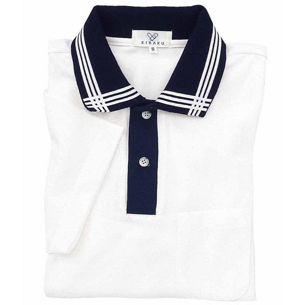 トンボ キラク 消臭ポロシャツ  白×紺×白 LL CR071-02 1枚  (取寄品)