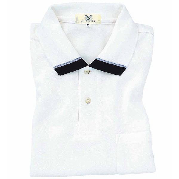 トンボ キラク ポロシャツ  白  L CR072-01 1枚  (取寄品)