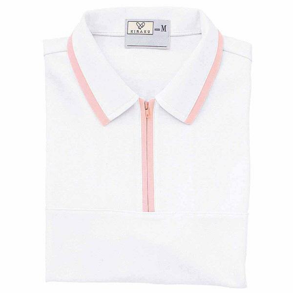 トンボ キラク ケアワークシャツ 白×ピンク 3L  3L CR076-01 1枚  (取寄品)