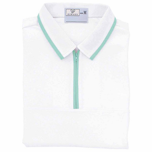 トンボ キラク ケアワークシャツ 白×ミント M  M CR076-02 1枚  (取寄品)