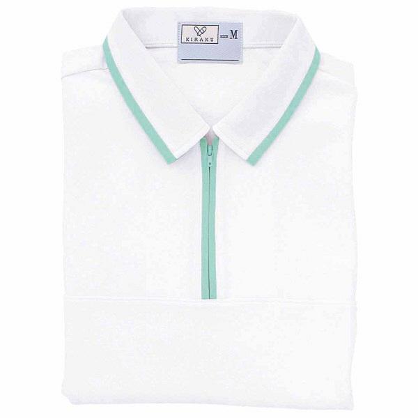 トンボ キラク ケアワークシャツ 白×ミント L CR076-02 1枚  (取寄品)