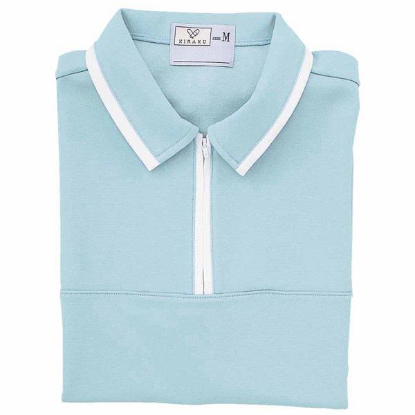 トンボ キラク ケアワークシャツ サックス M  M CR076-70 1枚  (取寄品)
