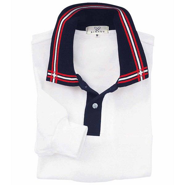 トンボ キラク 消臭長袖ポロシャツ  白×紺×赤 M CR081-01 1枚  (取寄品)