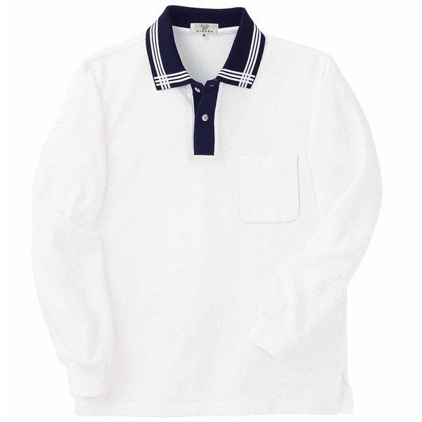 トンボ キラク 消臭長袖ポロシャツ  白×紺×白 M CR081-02 1枚  (取寄品)
