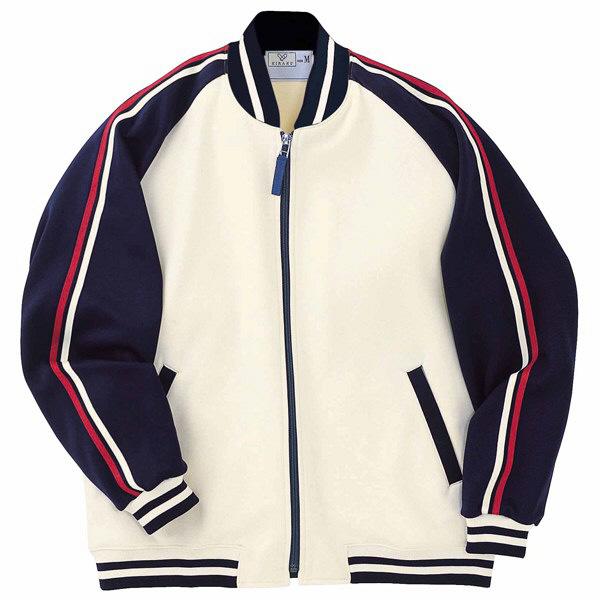 トンボ キラク ケアワークジャケット オフ白×紺 L CR083-50 1枚  (取寄品)