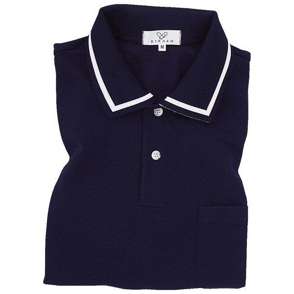 トンボ キラク 長袖ポロシャツ ネイビー 3L CR088-88 1枚  (取寄品)