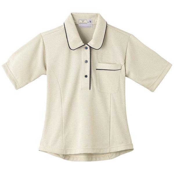 トンボ キラク レディスニットシャツ チェックベージュ M CR124-28 1枚  (取寄品)