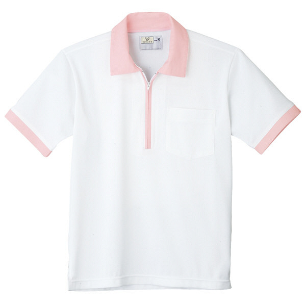 トンボ キラク ニットシャツ  白×ピンク  3L CR125-01 1枚  (取寄品)