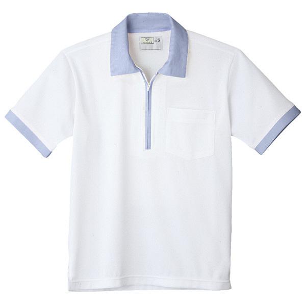 トンボ キラク ニットシャツ  白×プルー  3L CR125-02 1枚  (取寄品)
