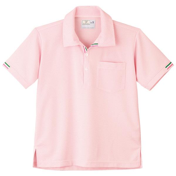 トンボ キラク ニットシャツ  白×アマンドピンク S CR127-14 1枚  (取寄品)