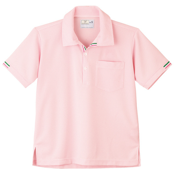 トンボ キラク ニットシャツ  白×アマンドピンク M CR127-14 1枚  (取寄品)