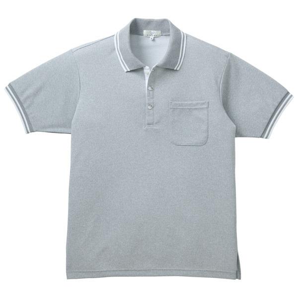 トンボ キラク 杢ポロシャツ  グレーモク×白 L CR135-02 1枚  (取寄品)