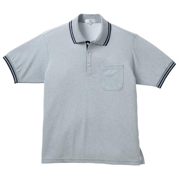 トンボ キラク 杢ポロシャツ  グレーモク×ネイビー M CR135-03 1枚  (取寄品)