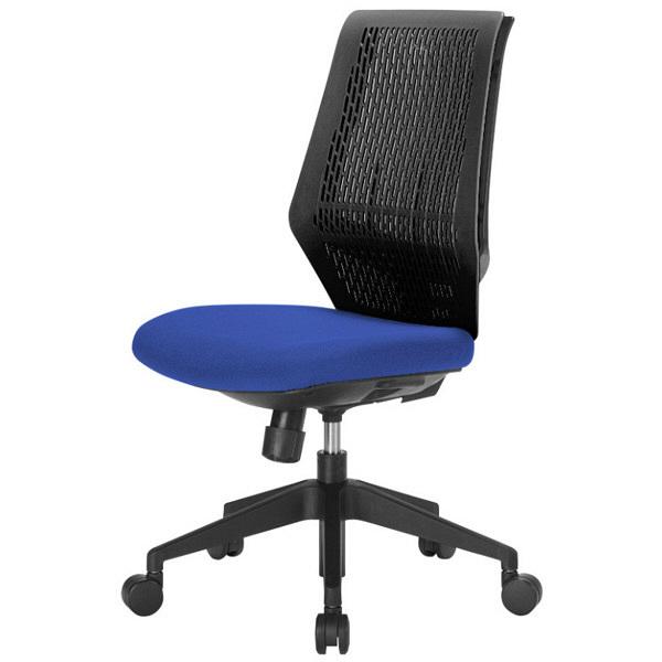 中央可鍛工業 スコルド(SKOLD) オフィスチェア ブラック樹脂メッシュ 肘無し ブルー YC-210B-BL 1脚 (取寄品)