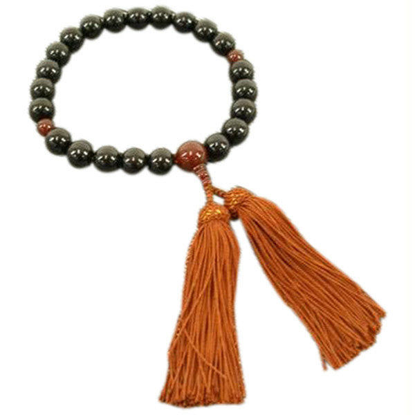 数珠 黒檀 22玉瑪瑙(メノウ)
