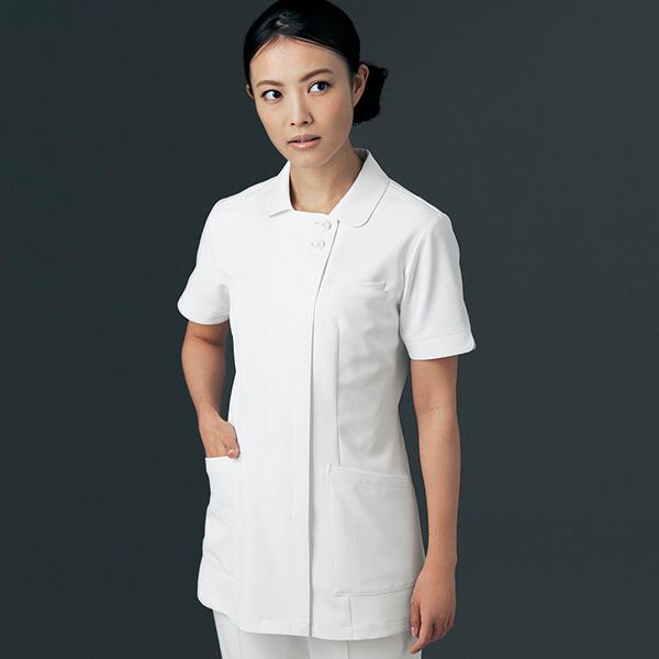 ナースジャケット リアルベーシック 離れ衿 BR-1112 ホワイト S オンワード 白衣 (取寄品)