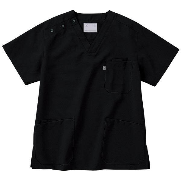 ミズノ ユナイト スクラブ(男女兼用) ブラック S MZ0021 医療白衣 1枚 (取寄品)