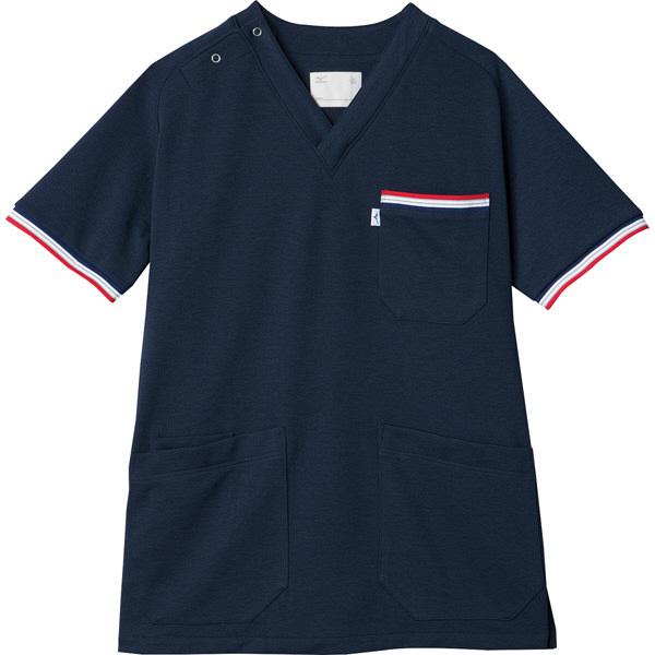 ミズノ ユナイト スクラブ(男女兼用) ネイビー 3L MZ0110 医療白衣 1枚 (取寄品)