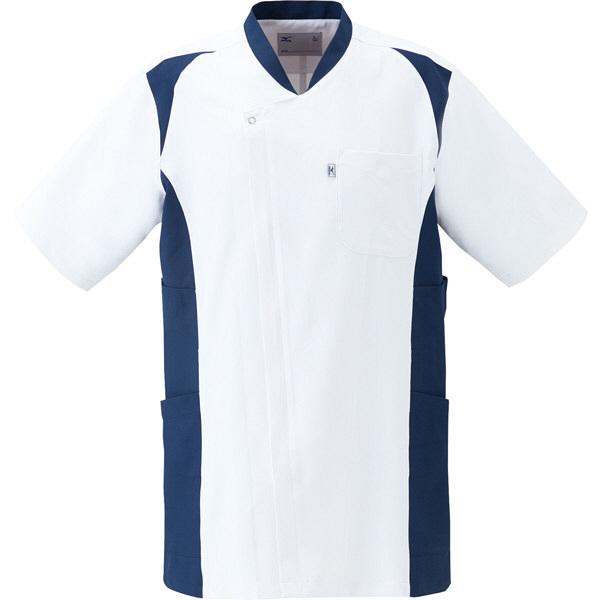 ミズノ ユナイト スクラブ(男性用) ホワイト×ネイビー LL MZ0111 医療白衣 メンズスクラブ 1枚 (取寄品)