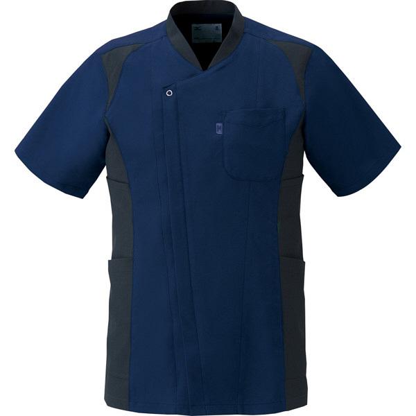 ミズノ ユナイト スクラブ(男性用) ネイビー×ブラック L MZ0111 医療白衣 メンズスクラブ 1枚 (取寄品)