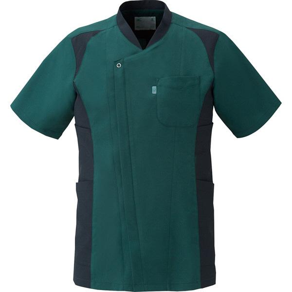 ミズノ ユナイト スクラブ(男性用) モスグリーン×ブラック L MZ0111 医療白衣 メンズスクラブ 1枚 (取寄品)