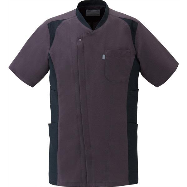ミズノ ユナイト スクラブ(男性用) チャコールグレー×ブラック 3L MZ0111 医療白衣 メンズスクラブ 1枚 (取寄品)