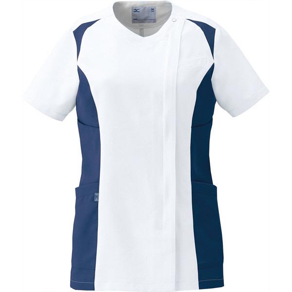 ミズノ ユナイト スクラブ(女性用) ホワイト×ネイビー LL MZ0112 医療白衣 レディススクラブ 1枚 (取寄品)