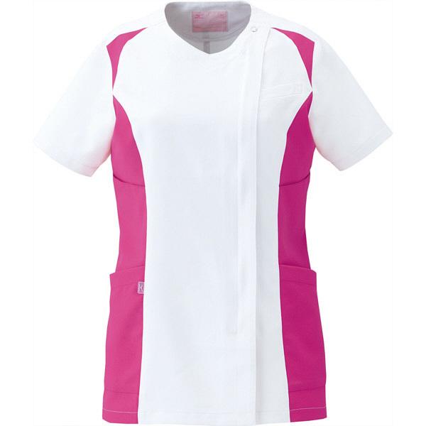 ミズノ ユナイト スクラブ(女性用) ホワイト×ライラック L MZ0112 医療白衣 レディススクラブ 1枚 (取寄品)