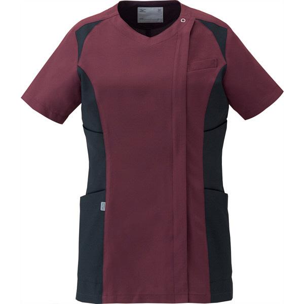 ミズノ ユナイト スクラブ(女性用) ワイン×ブラック LL MZ0112 医療白衣 レディススクラブ 1枚 (取寄品)