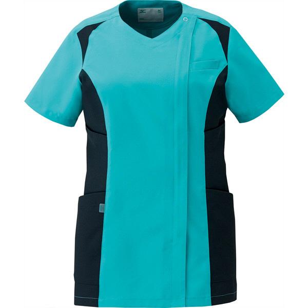 ミズノ ユナイト スクラブ(女性用) エメラルドグリーン×ブラック LL MZ0112 医療白衣 レディススクラブ 1枚 (取寄品)