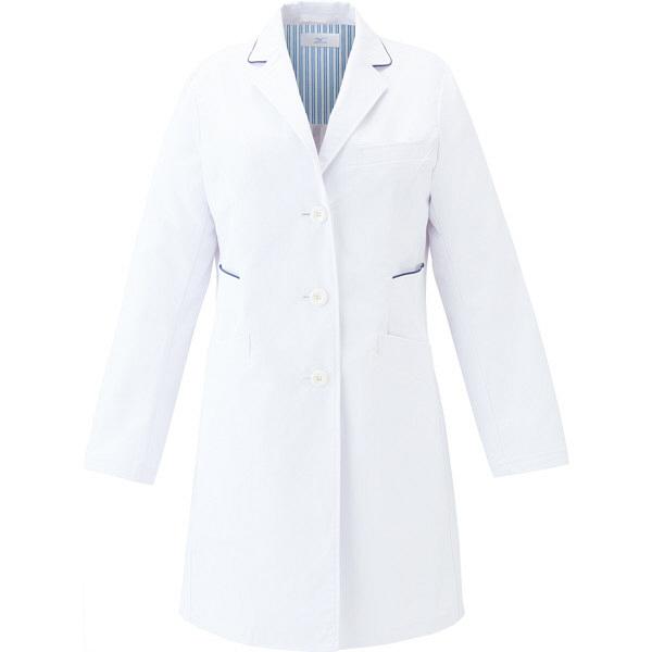 ミズノ ユナイト ドクターコート(女性用) ホワイト×ネイビー M MZ0113 医療白衣 診察衣 薬局衣 1枚 (取寄品)