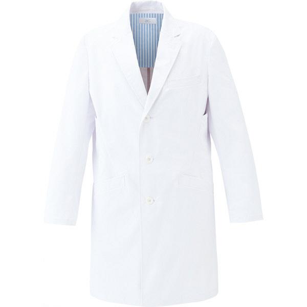 ミズノ ユナイト ドクターコート(男性用) ホワイト×ホワイト L MZ0114 医療白衣 診察衣 薬局衣 1枚 (取寄品)