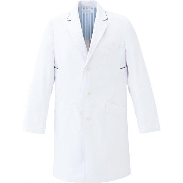 ミズノ ユナイト ドクターコート(男性用) ホワイト×ネイビー L MZ0114 医療白衣 診察衣 薬局衣 1枚 (取寄品)