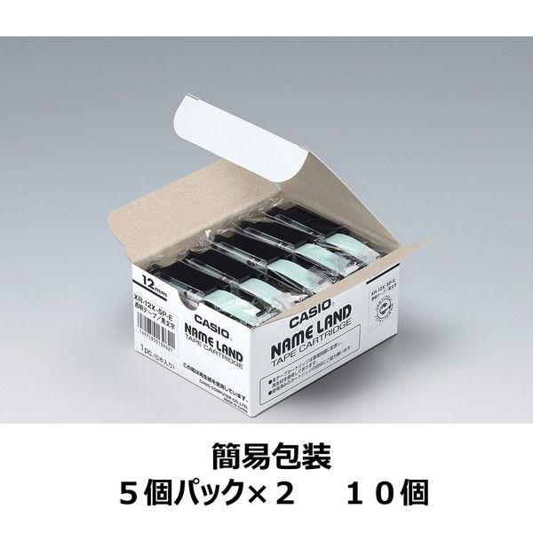 カシオ ネームランドテープ 12mm 透明テープ(黒文字) 1パック(10個入) XR-12X-10P
