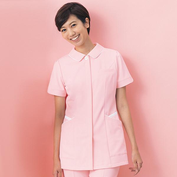 ナースジャケット カラーバリエーション パイピング BR-1110 ピンク EL オンワード 白衣 (取寄品)