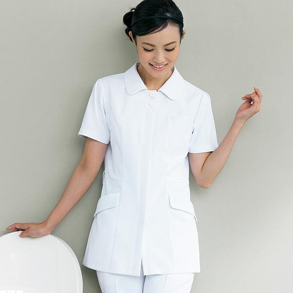 ナースジャケット リアルベーシック 花ボタン BR-1103 ホワイト LL オンワード 白衣 (取寄品)