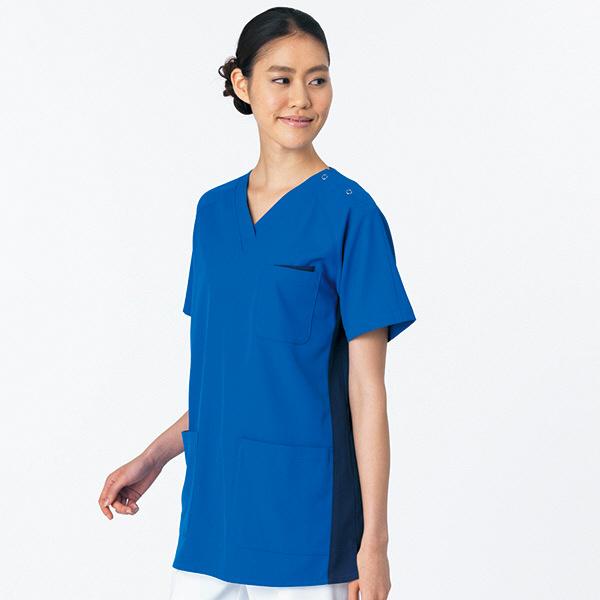 女性用スクラブ HS-8021 ミディアムブルー×ネイビー EL オンワード 白衣 (取寄品)